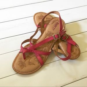Born Summer Leather Sandals Open toe Red Size 7